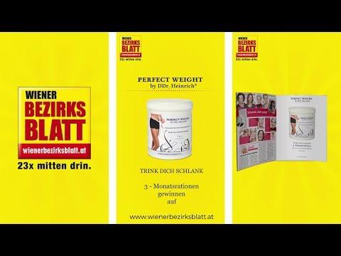 Gewinnspiel: Wiener Bezirksblatt verlost 3-Monatsration Perfect Weight by DDr. Heinrich®